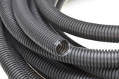Black corrugated pipes — Stock Photo
