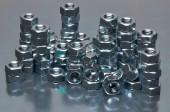 Shiny metal nuts — Foto Stock
