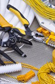 Tools and component for electrical installation — Stock Photo