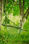 Empty hammock strung between two trees — Stock Photo