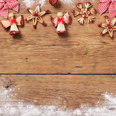 Christmas decor on wooden background — Stock Photo