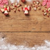 Christmas decor on wooden background — Stockfoto
