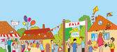 Fair holiday at the town illustration with many people — Vetor de Stock