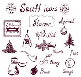 Snuff and tabacco icons set - hand drawn — Stock Vector