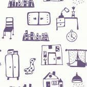 Furniture set seamless pattern — Stock Vector