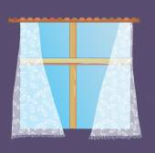 Window with lace curtain — Stock Vector