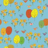 Abstract seamless autumn pattern with birds, trees, sunflowers — Stock Vector