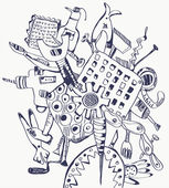 Tools doodle composition - graphic — Stock vektor