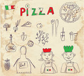 Pizza hand drawn elements - retro design — Stock Vector