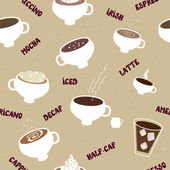 Coffee seamless pattern of different kinds — Stock Vector