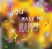 You make me happy - cute romantic — Stock Vector
