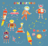 Space cartoons for child — Stock Vector