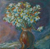 Art painting - still life with camomiles in vase — Stock Photo