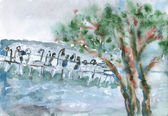 Watercolor with the sea and moll behind the tree — Foto de Stock