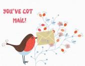 Zabawny karty z ptaka i poczty na kwiat — Wektor stockowy