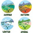 Farm rural landscape in four seasons — Stock Vector #60325997
