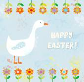 Happy easter card with goose — Stock Vector