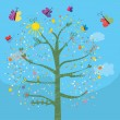 Funny card with tree and butterflies — Stock Vector #66267407