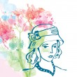 Retro card with girl in hat and floral background - watercolor s — Stock Vector #70385467