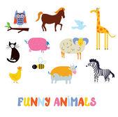 Funny animals set - simple design  — Διανυσματικό Αρχείο