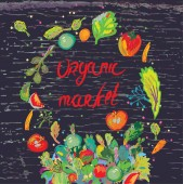Organic market banner for with fresh vegetables  — Stock Vector