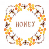 Honey label vintage style — Stock Vector