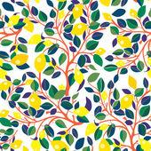 Lemons seamless pattern - design with leaves — Stock Vector