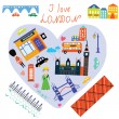 London love card with funny landmarks — Stock Vector #73363169