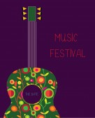 Music festival poster with guitar — Stock Vector