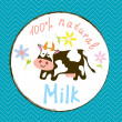 Cow and milk funny label — Stock vektor #76217685
