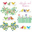Floral design elements and birds set — Stock Vector #76217695
