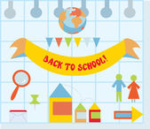 Back to school set with flat style icons — Stock Vector