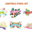 Floral design elements set with ribbons for greeting cards — Stock Vector #81123750