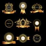 Set of vintage gold-framed labels. — Stock Vector #55321715
