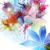 Abstract background in grunge style with flower and butterfly. — Stock Vector