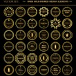 Set of dark gold-framed design elements. — Stock Vector #57216231