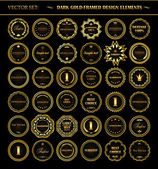 Set of dark gold-framed design elements. — Stock Vector