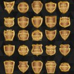 Set of vintage design elements-golden shields. — Stock Vector #58729219