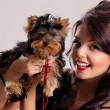 Young Woman With A Little Dog — Stock Photo #78177732