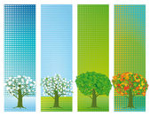 Four seasons banners — Stock Vector