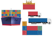 Container transport logistics — Stock Vector