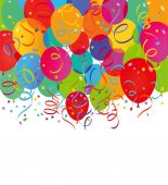 Balloons and confetti on a white background — Stock Vector