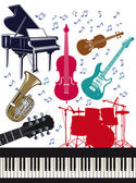 Cheerful Musical Instruments — Stock Vector