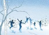 Children frolic in the snow — Stock Vector