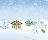 Snow landscape with houses — Stock Vector