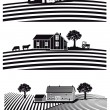 Farm and fields — Stock Vector #67643777