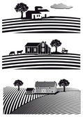 Farm and fields — Stock Vector
