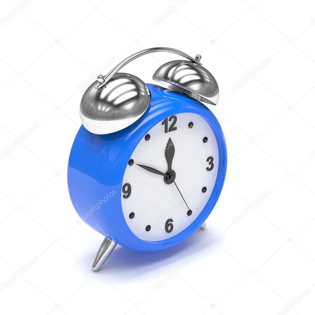 白色背景上的蓝色 3d 闹钟– 图库图片