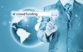 Crowd funding in search bar — Stock Photo