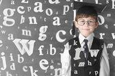 Menino com letras — Foto Stock